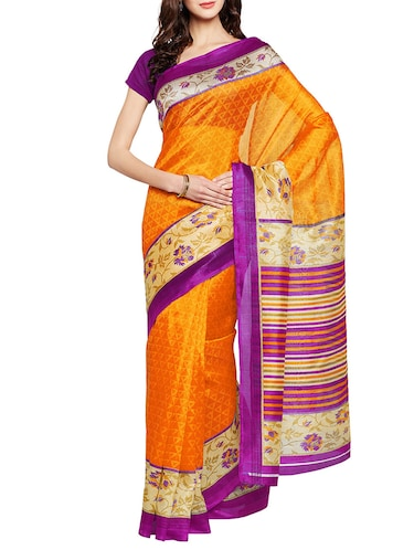mustard art silk printed saree with blouse - 14918694 - Standard Image - 1