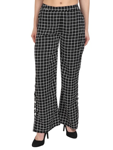 black checkered crepe palazzo - 14918957 - Standard Image - 1