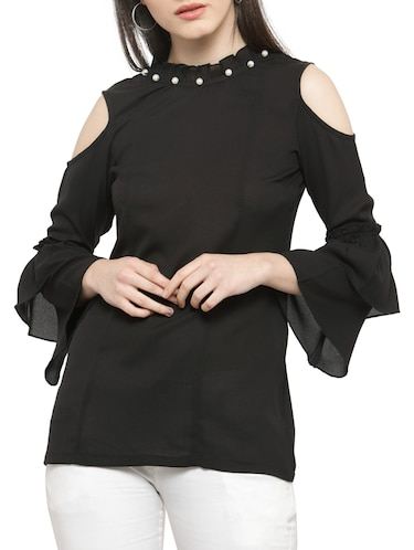 solid black cold shoulder top - 14919782 - Standard Image - 1