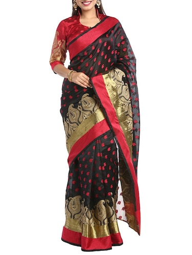 black art silk woven saree with blouse - 14921155 - Standard Image - 1