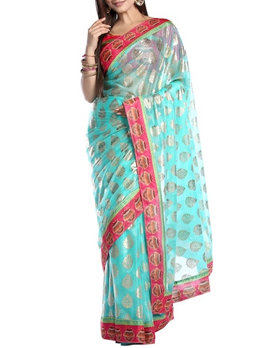 turquoise georgette printed saree with blouse - 14921162 - Standard Image - 1