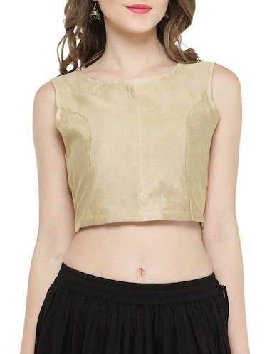 gold pure silk crop top - 14921215 - Standard Image - 1