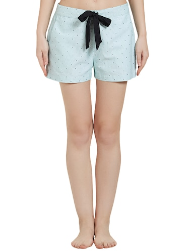 Light blue printed cotton shorts - 14921326 - Standard Image - 1