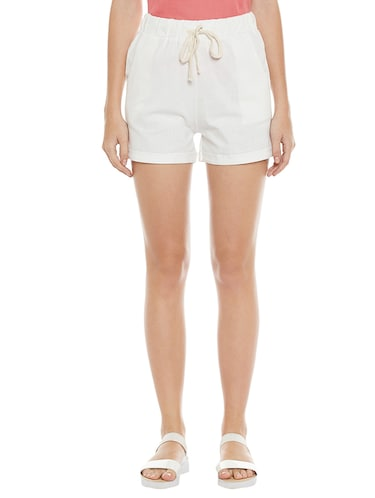 solid white cotton shorts - 14921411 - Standard Image - 1