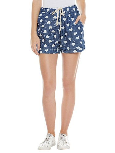blue printed cotton shorts - 14921412 - Standard Image - 1