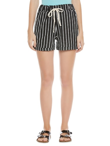 black striped cotton shorts - 14921415 - Standard Image - 1