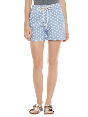 blue printed cotton shorts - 14921420 - Standard Image - 1