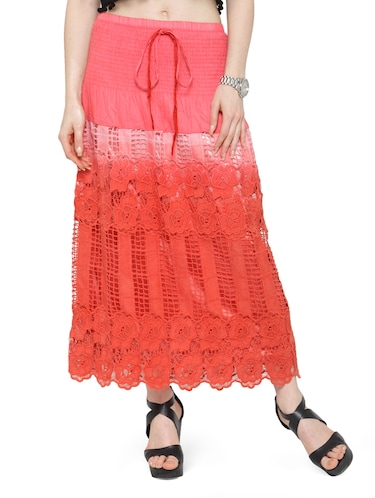 red cotton ombre maxi skirt - 14921473 - Standard Image - 1