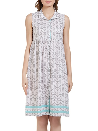 white cotton printed nighty - 14921571 - Standard Image - 1
