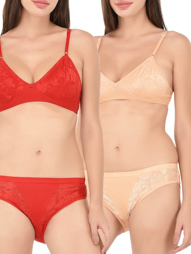 Set of 2 multi colored bras and panty set - 14922997 - Standard Image - 1