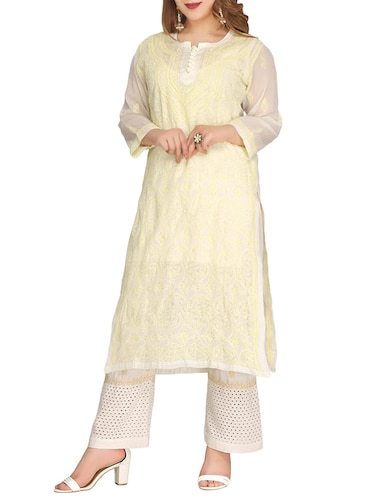 ADA cream cotton straight kurta - 14923017 - Standard Image - 1