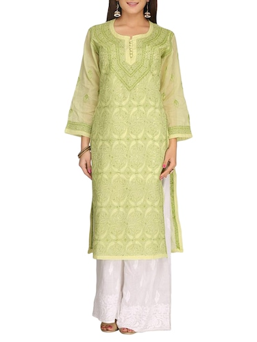 ADA green cotton straight kurta - 14923018 - Standard Image - 1