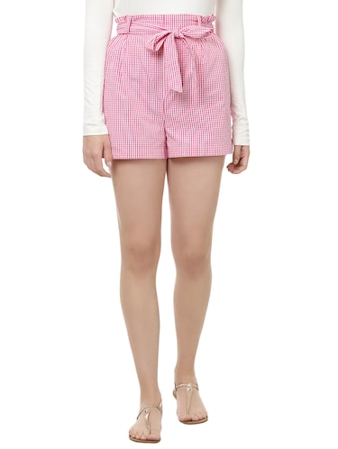 front knot checkered shorts - 14923826 - Standard Image - 1