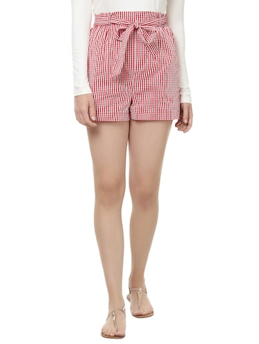 front knot checkered shorts - 14923827 - Standard Image - 1