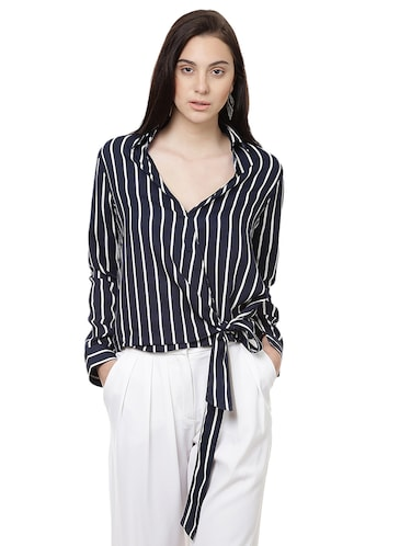 striped wrap polyester top - 14923863 - Standard Image - 1