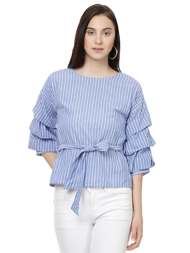 light blue striped front tie up top - 14923879 - Standard Image - 1