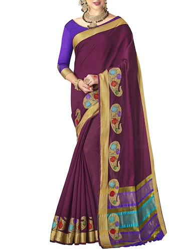 Paisley chanderi saree with blouse - 14923894 - Standard Image - 1