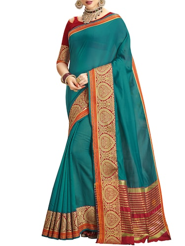 Zari bordered chanderi saree with blouse - 14923896 - Standard Image - 1