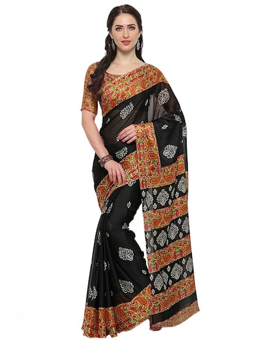 black chiffon printed saree with blouse - 14924290 - Standard Image - 1