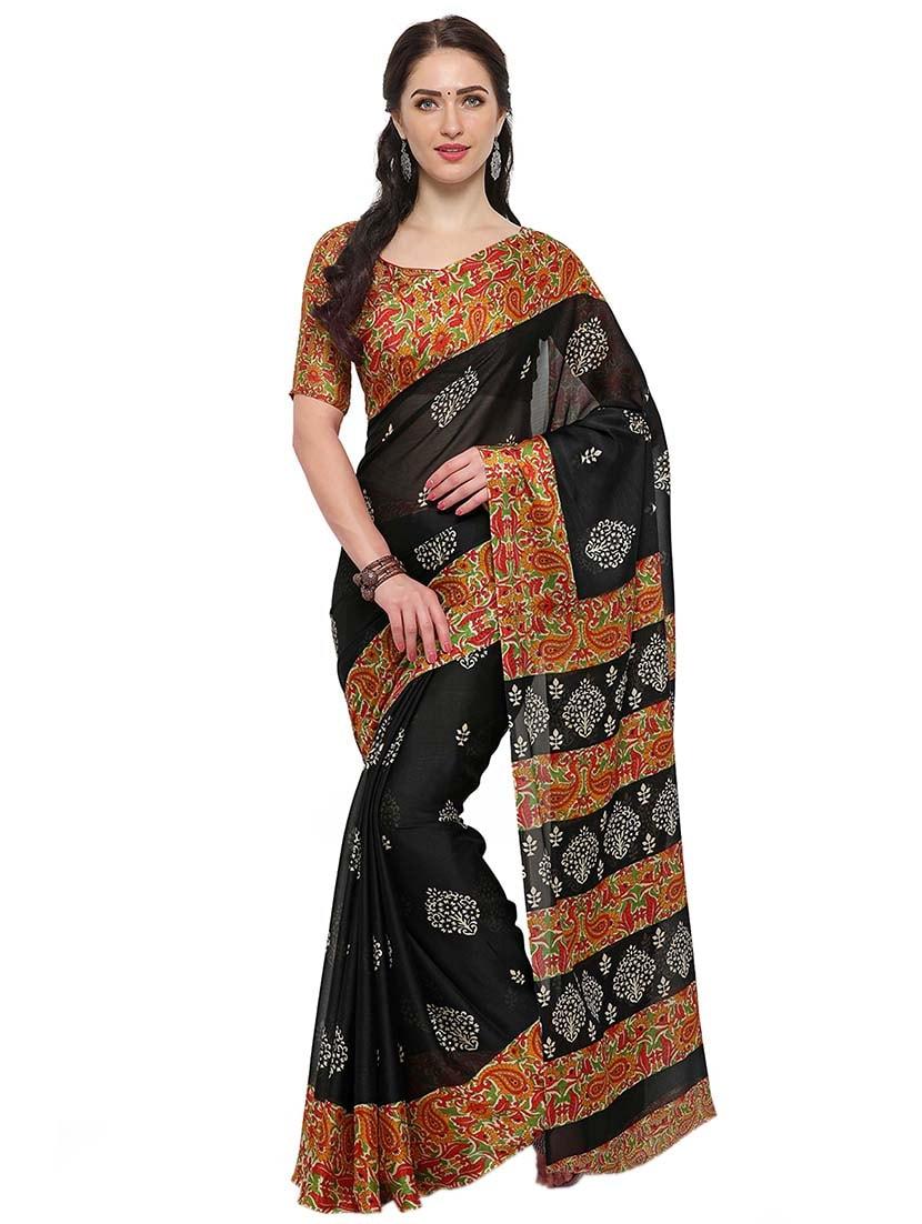 394333f18b7922 ... black chiffon printed saree with blouse - 14924290 - Zoom Image - 1