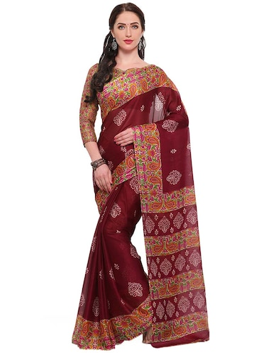 floral printed brown saree with blouse - 14924291 - Standard Image - 1