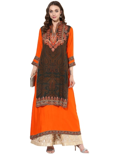orange rayon layered  kurta - 14924524 - Standard Image - 1