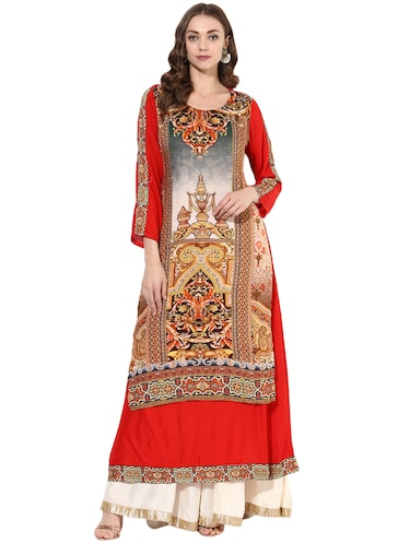 red rayon layered  kurta - 14924526 - Standard Image - 1