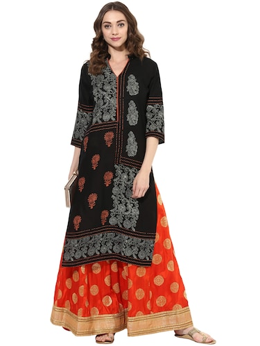 black cotton straight kurta - 14924540 - Standard Image - 1