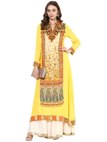 yellow rayon layered kurta - 14924545 - Standard Image - 1