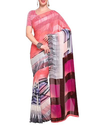 multi georgette printed saree with blouse - 14925676 - Standard Image - 1