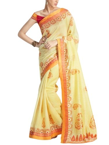 Paisley Printed saree with blouse - 14925883 - Standard Image - 1
