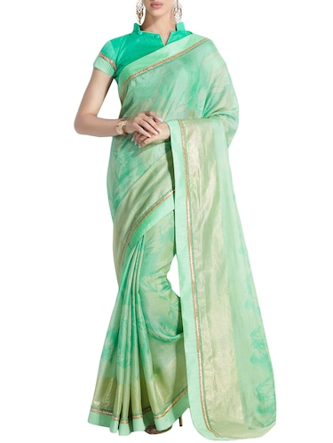 Pastel green printed saree with blouse - 14925885 - Standard Image - 1