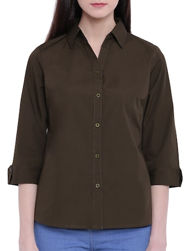 solid green cotton shirt - 14925984 - Standard Image - 1