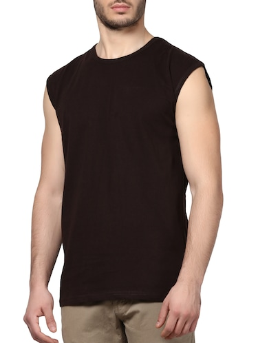 brown cotton t-shirt - 14926016 - Standard Image - 1