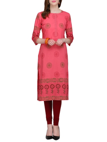 kaanchie nanggia peach cotton straight kurta - 14926561 - Standard Image - 1