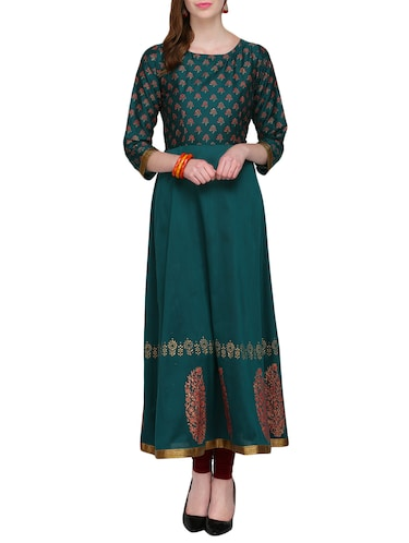 KAANCHIE NANGGIA green cotton blend flared kurta - 14926700 - Standard Image - 1