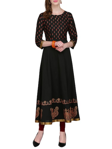 KAANCHIE NANGGIA black cotton blend flared kurta - 14926701 - Standard Image - 1