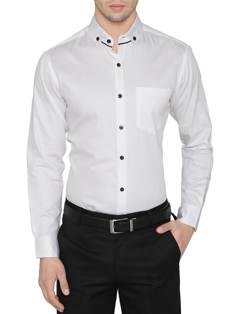 6f75a643837 Buy White Cotton Formal Shirt for Men from Dazzio for ₹993 at 33 ...