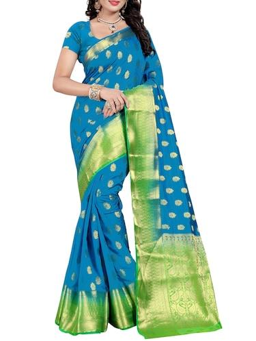 ab738eaa7152e Buy Sky Blue Cotton Silk Kanjivaram Saree With Blouse for Women from ...