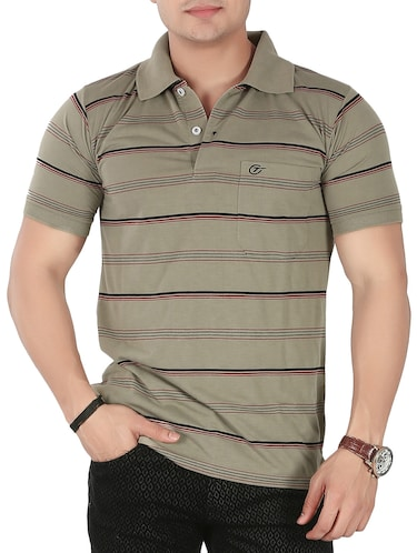 olive green cotton striped -shirt - 14946426 - Standard Image - 1