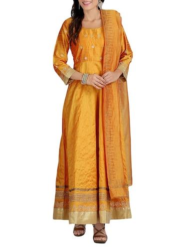 997cd04fa7 Yellow Art Silk Anarkali Kurta Dupatta Set