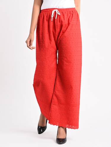 red embroidered cotton palazzo - 14961911 - Standard Image - 1