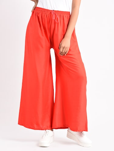 red solid cotton palazzo - 14961914 - Standard Image - 1