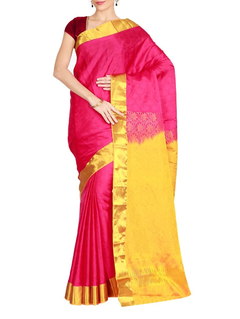 Buy The Chennai Silks Pink Kanjivaram Saree With Blouse for