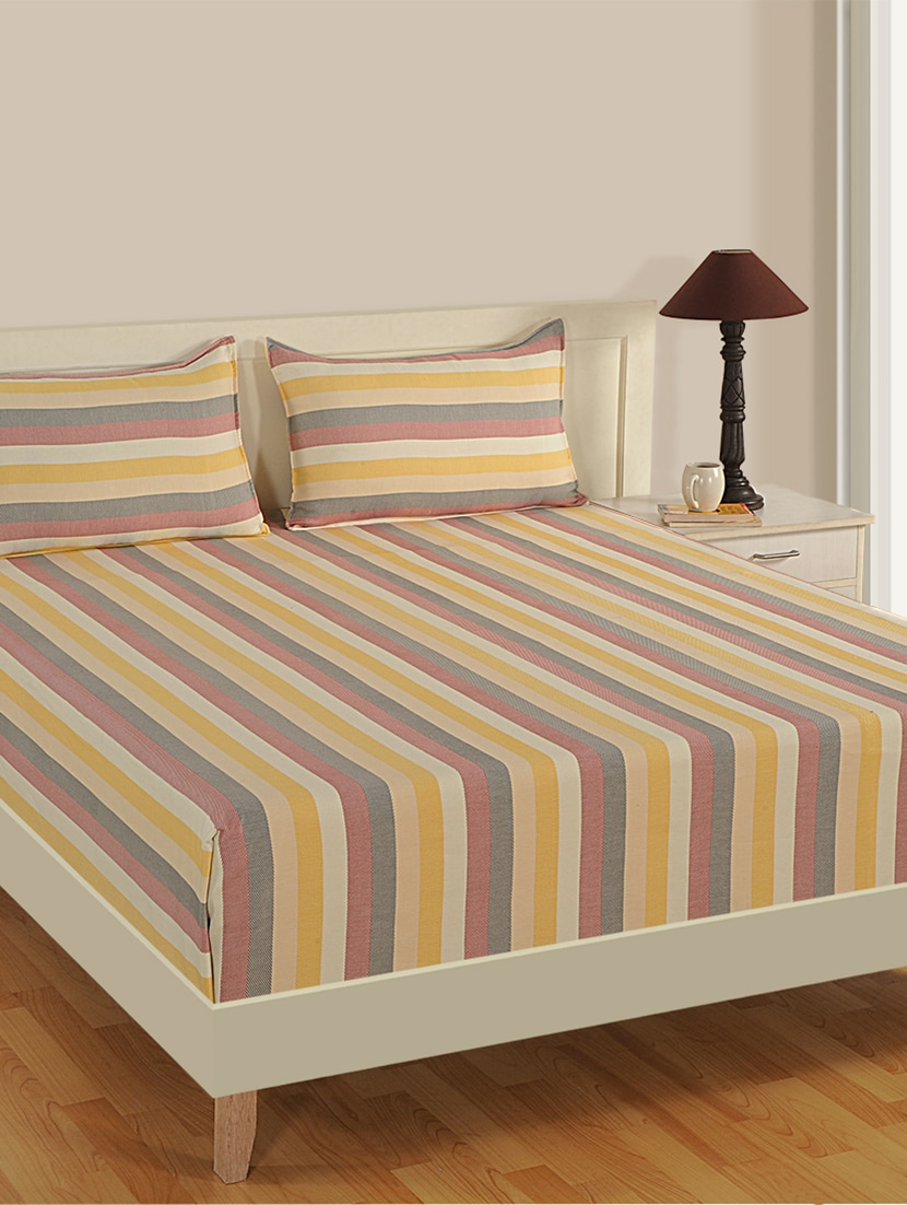 Buy Stripes Single Bed Sheet With 1 Pillow Cover By Swayam   Online  Shopping For Bed Sheet Sets In India | 14963980