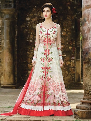 white net flared suits semistitched suit - 14965274 - Standard Image - 1