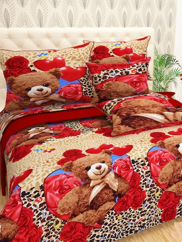Cartoon Print Polycotton Double bedsheet With 2 Pillow Covers - 14965520 - Standard Image - 1