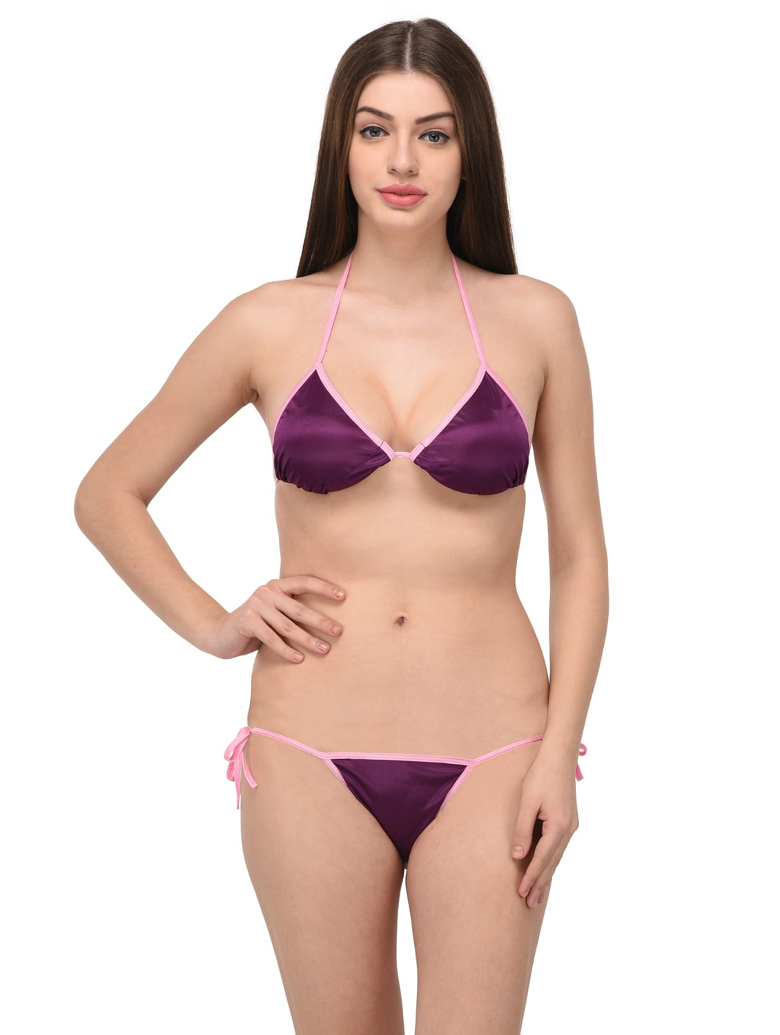 5c8413dbf3 Buy Purple Satin Bras And Panty Set by You Forever - Online shopping ...