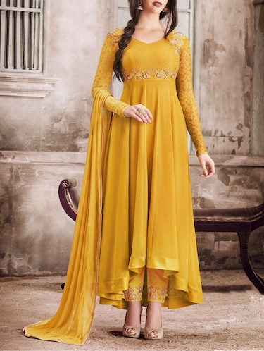 embroidered semi-stitched suit - 14968320 - Standard Image - 1