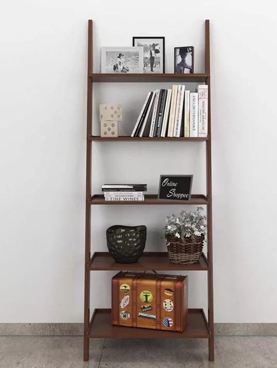 ... Leaning Bookcase Ladder and Room Organizer Engineered Wood Wall Shelf -Brown - 14972764 - Zoom & Buy Leaning Bookcase Ladder And Room Organizer Engineered Wood Wall ...